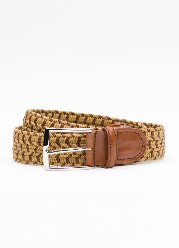 Cinturón Sport trenzado color tostado. Piel y algodón.