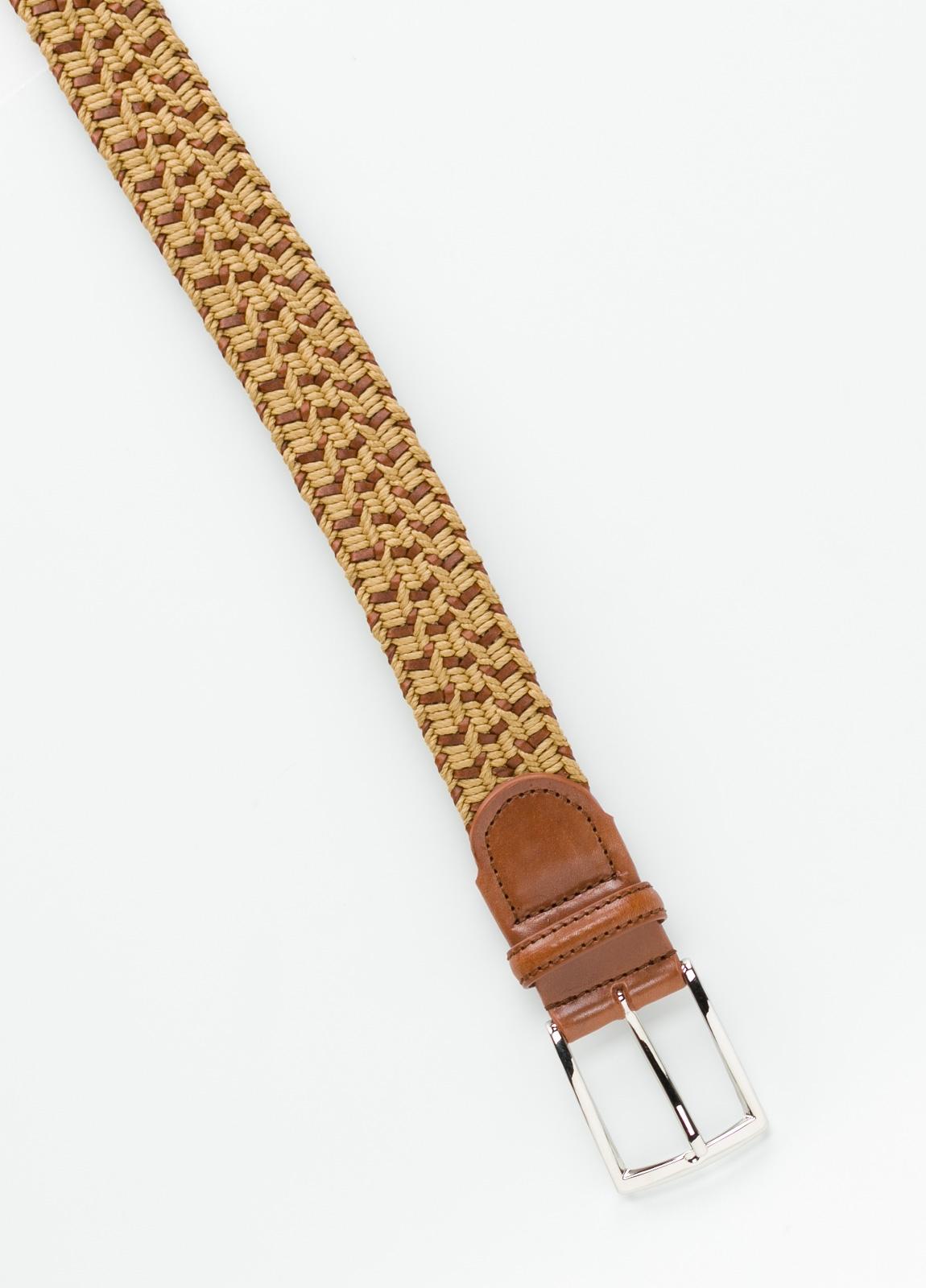 Cinturón Sport trenzado color tostado. Piel y algodón. - Ítem1