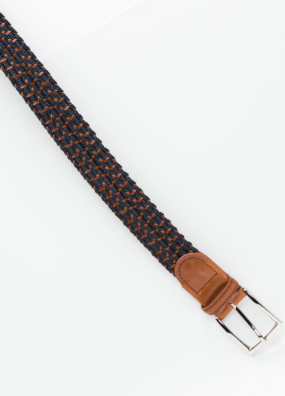 Cinturón Sport trenzado color azul marino. Piel y algodón. - Ítem1