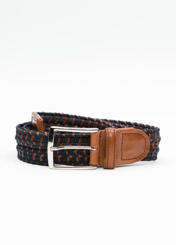 Cinturón Sport trenzado color azul marino. Piel y algodón.