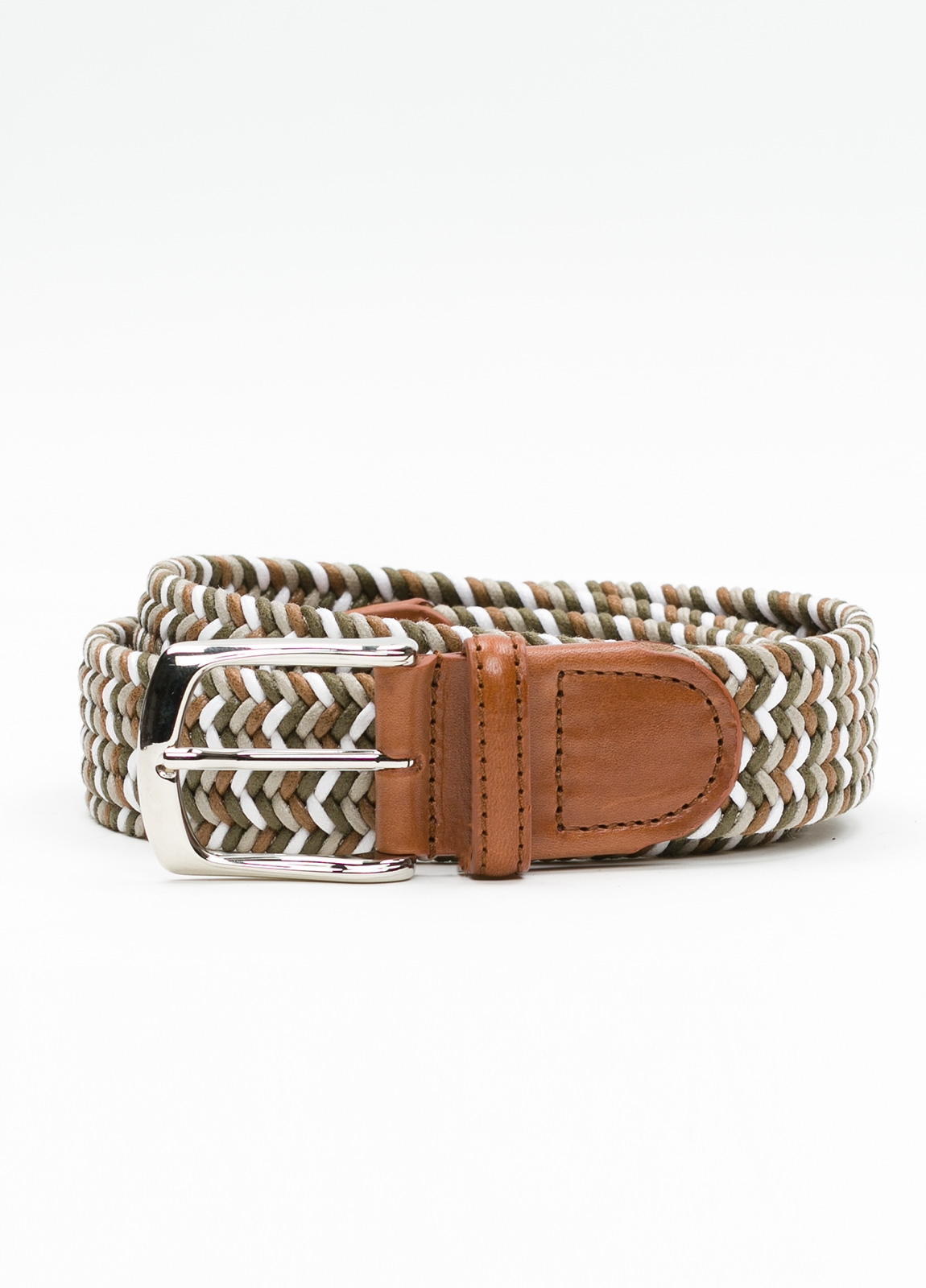 Cinturón Sport trenzado color marrón. Algodón.