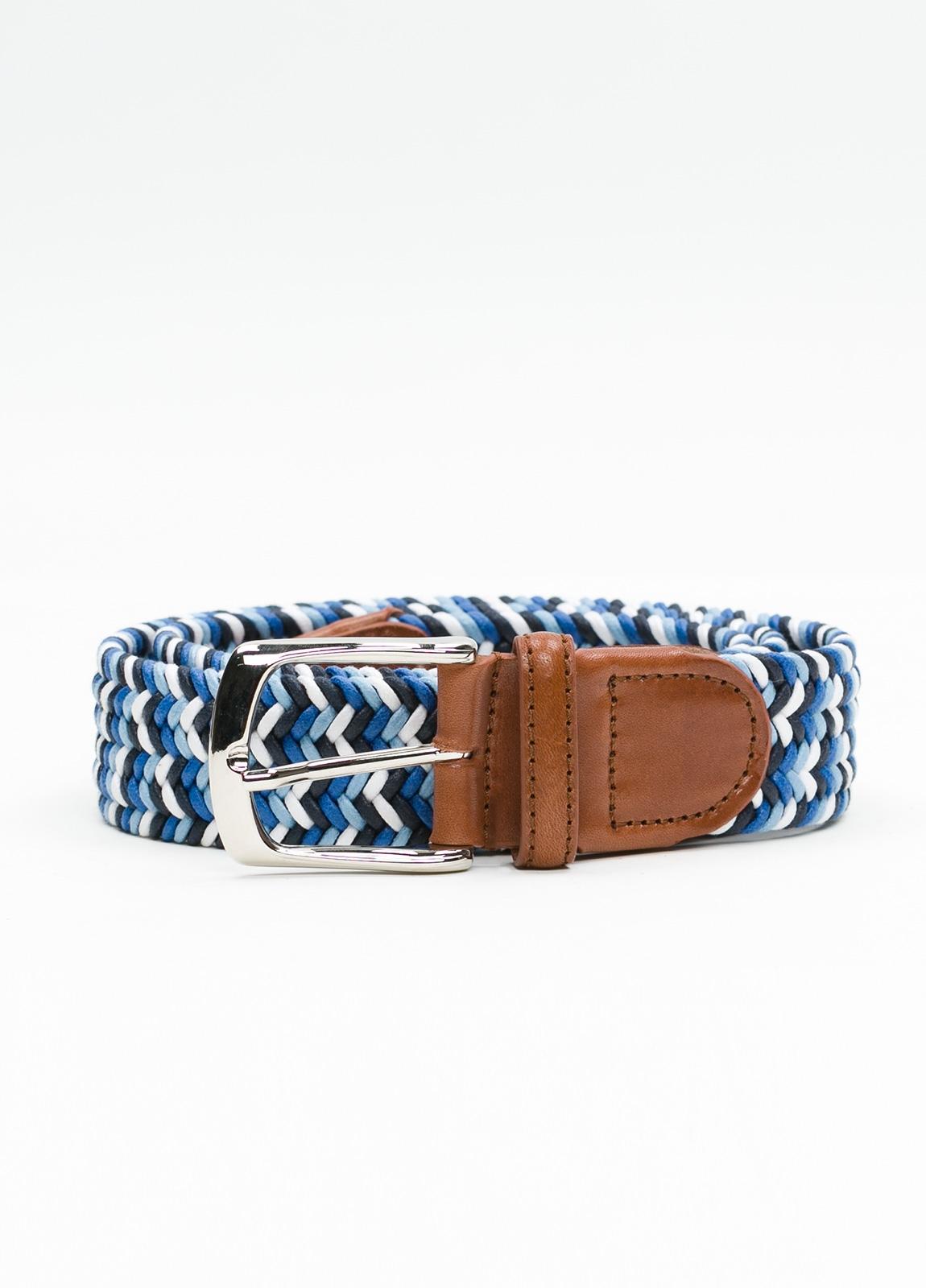 Cinturón Sport trenzado color azul. Algodón.