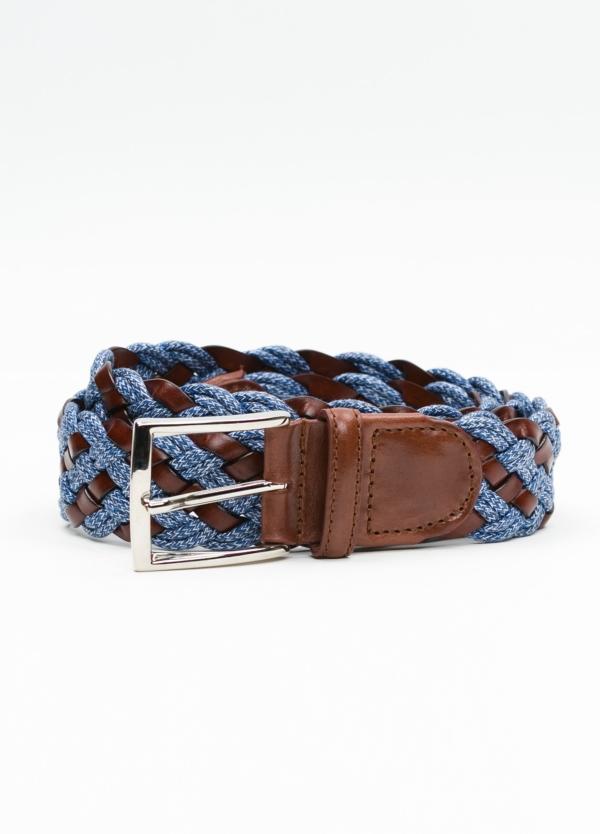 Cinturón Sport trenzado color azul. Piel y algodón.