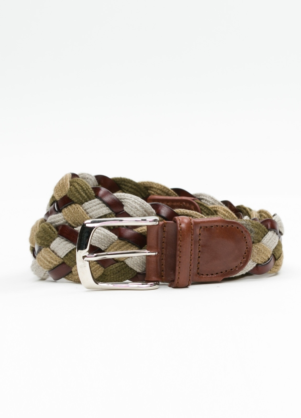 Cinturón Sport trenzado color tostado. Piel y lino.