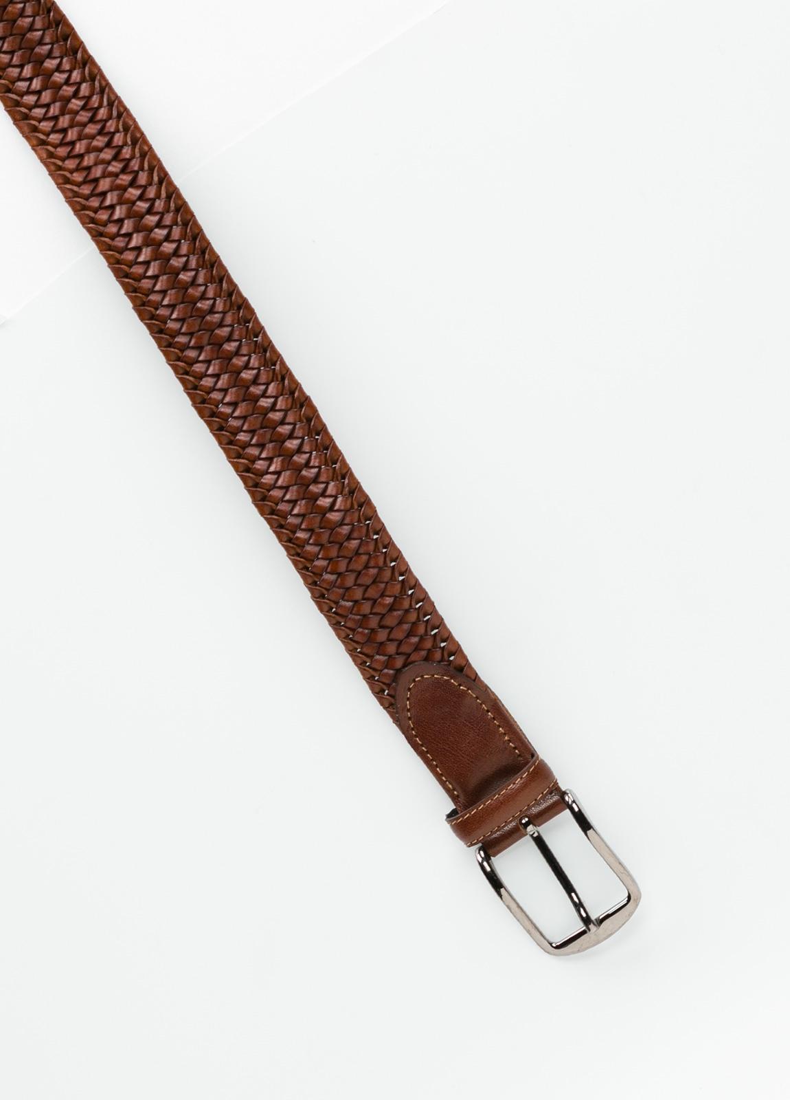 Cinturón sport tranzado color cognac. 100% Piel. - Ítem1