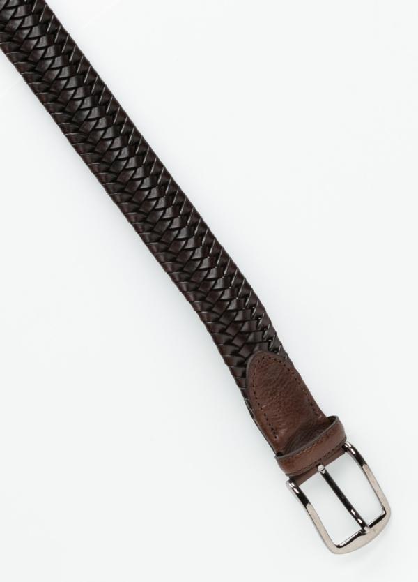 Cinturón sport trenzado color marrón. 100% Piel. - Ítem1
