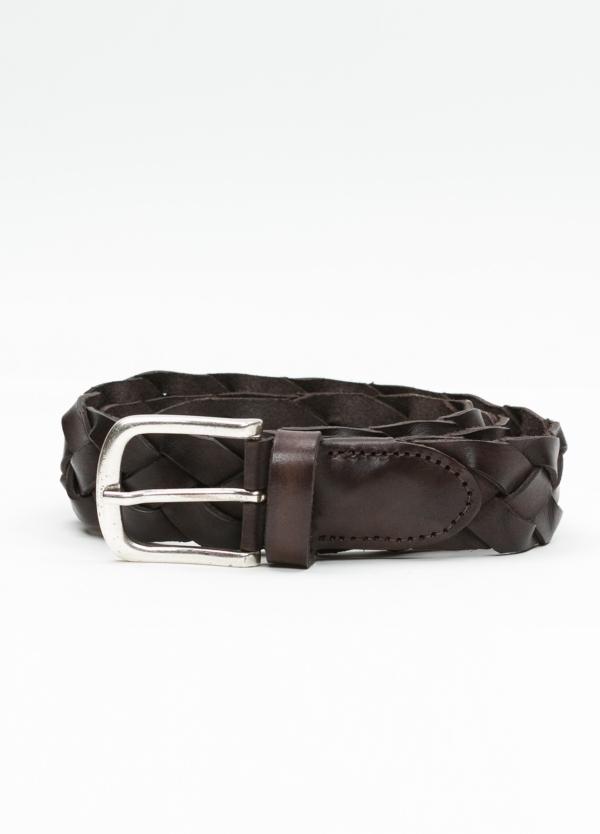 Cinturón sport trenzado color marrón. 100% Piel.