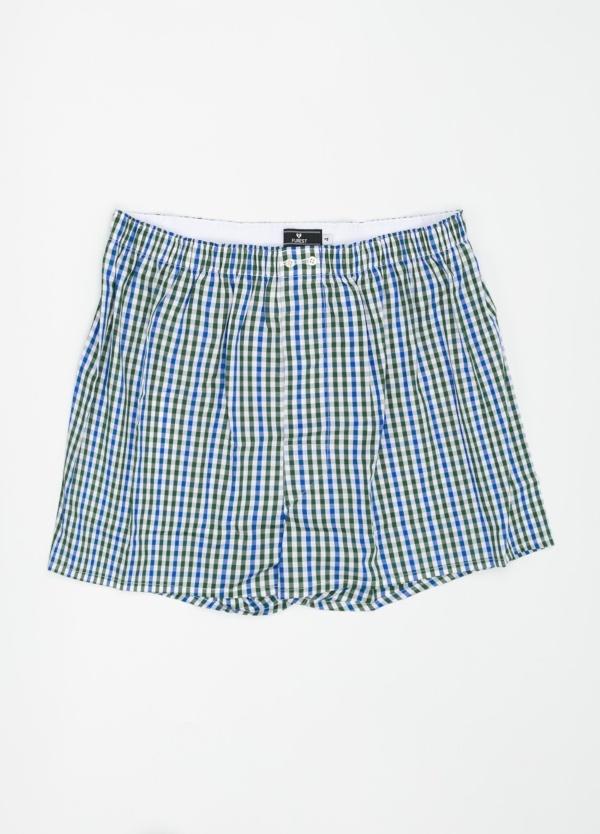 Boxer estampado de cuadros verde y azul, 100% Algodón. Bolsa incluida del mismo tejido.