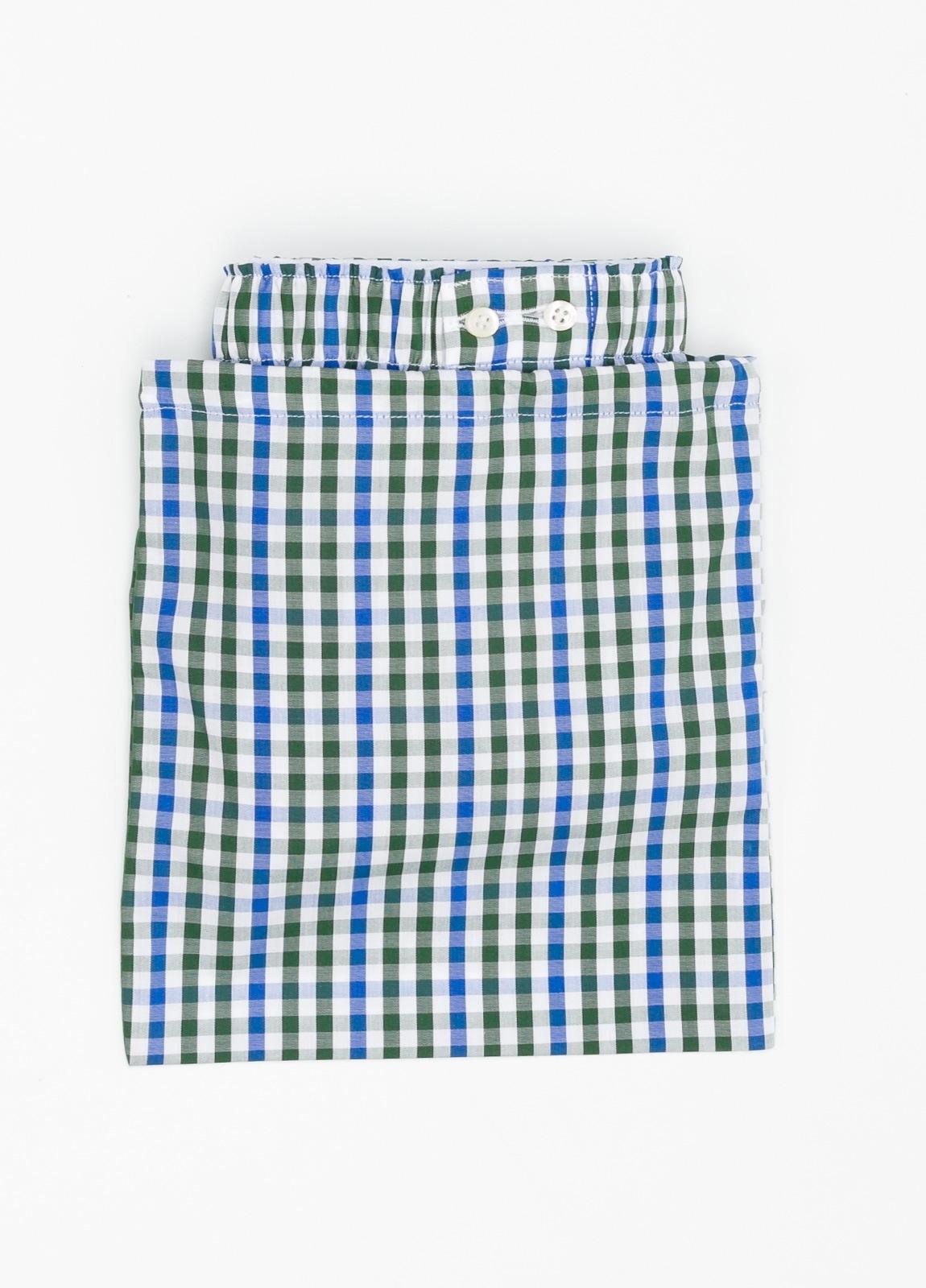 Boxer estampado de cuadros verde y azul, 100% Algodón. Bolsa incluida del mismo tejido. - Ítem1