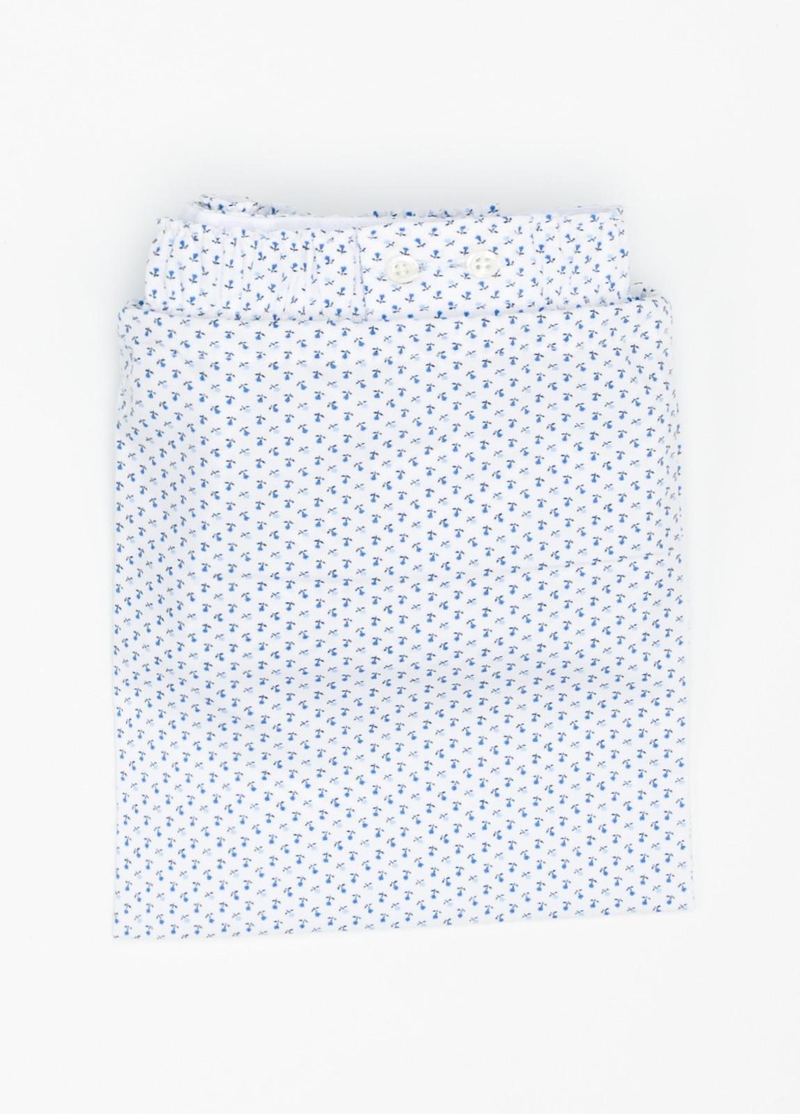 Boxer fondo blanco estampado azul, 100% Algodón. Bolsa incluida del mismo tejido. - Ítem1
