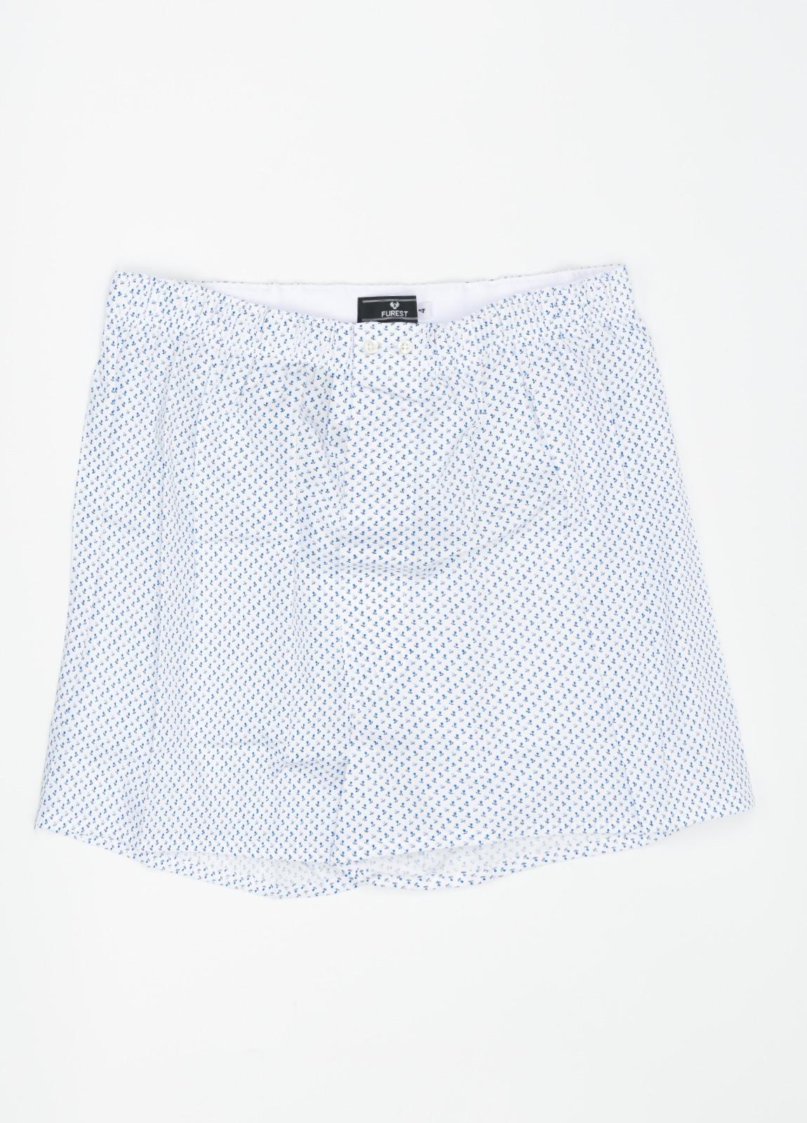 Boxer fondo blanco estampado azul, 100% Algodón. Bolsa incluida del mismo tejido.