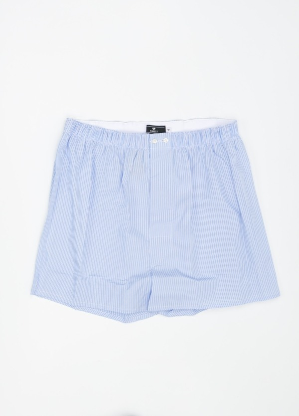 Boxer estampado de rayas azul celeste, 100% Algodón. Bolsa incluida del mismo tejido.