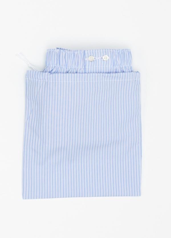 Boxer estampado de rayas azul celeste, 100% Algodón. Bolsa incluida del mismo tejido. - Ítem1