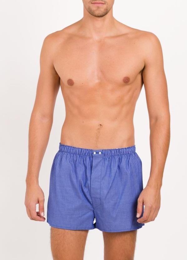 Boxer estampado rayas azul, 100% Algodón. Bolsa incluida del mismo tejido.