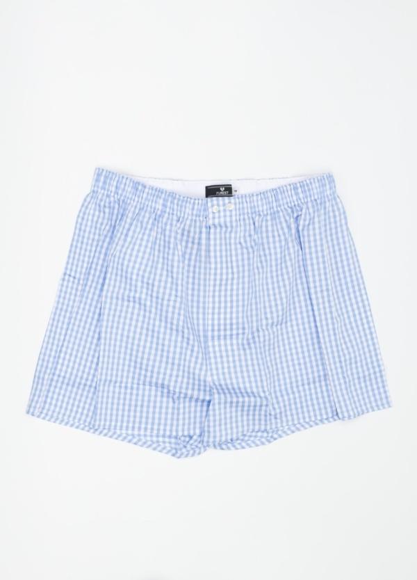 Boxer estampado de cuadros azul celeste, 100% Algodón. Bolsa incluida del mismo tejido.