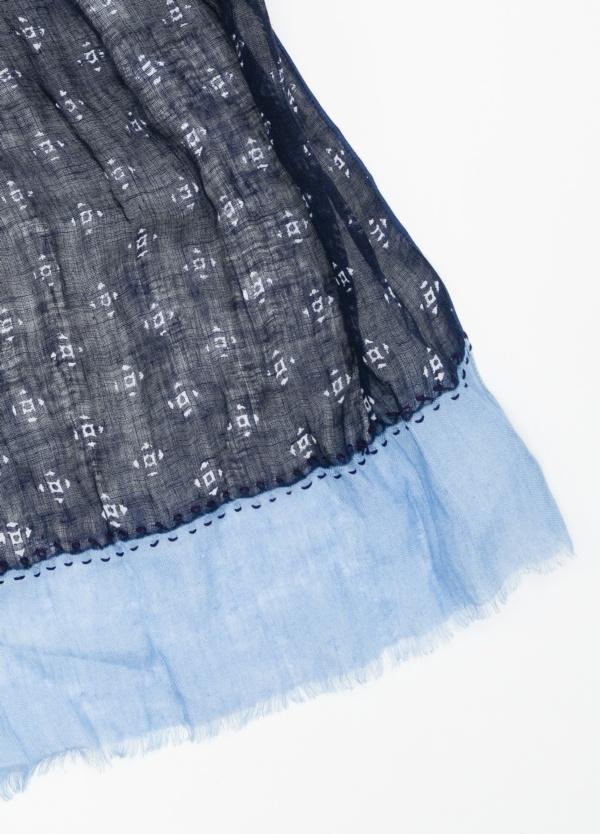Foulard estampado color azul marino y azul celeste. Modelo 70 X 190 cm. 100% Lino - Ítem1