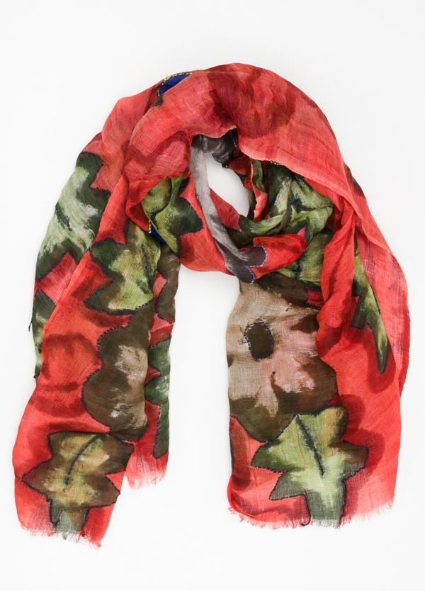 Foulard estampado floral color rojo modelo ORTENSIA 70% Lino 30% Seda.