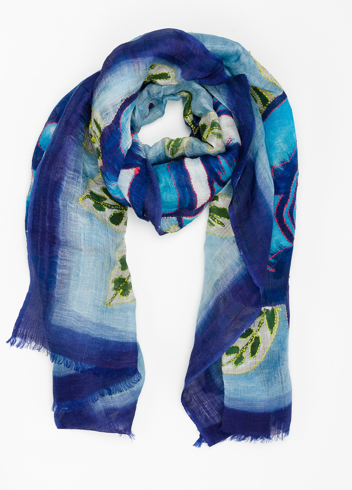 Foulard estampado floral color azul modelo ORTENSIA 70% Lino 30% Seda.