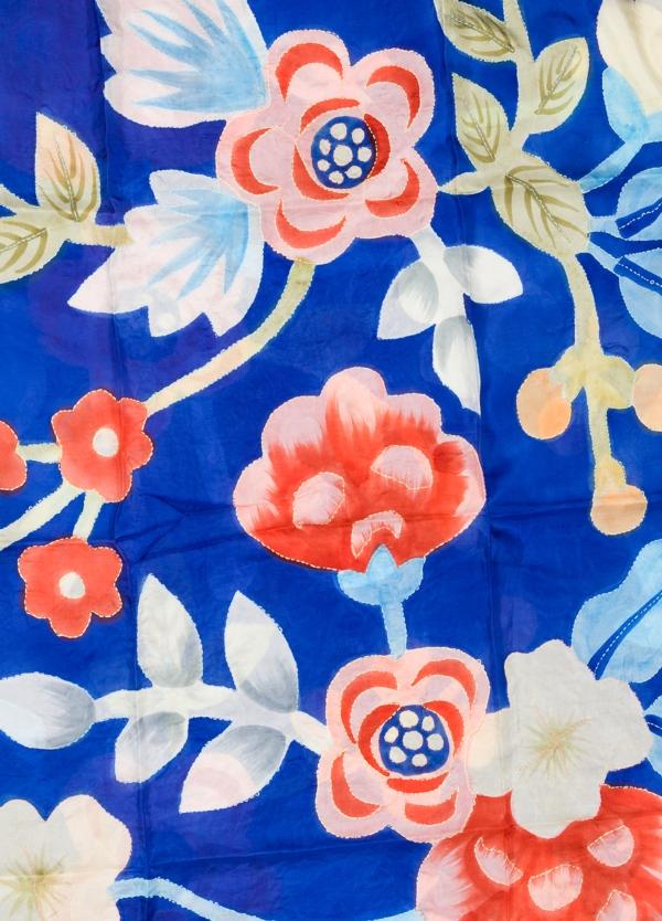 Foulard estampado floral color azul modelo TULIPANO 100% Seda. - Ítem1