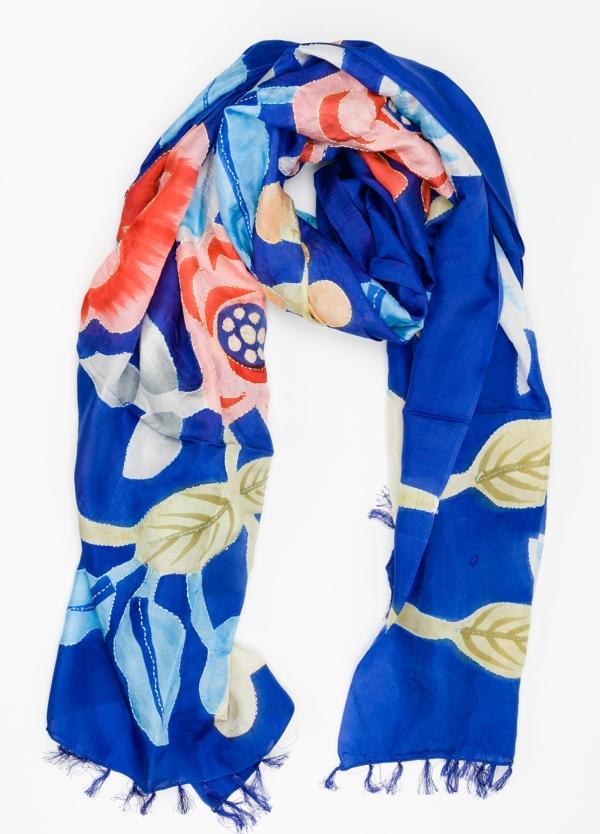 Foulard estampado floral color azul modelo TULIPANO 100% Seda.