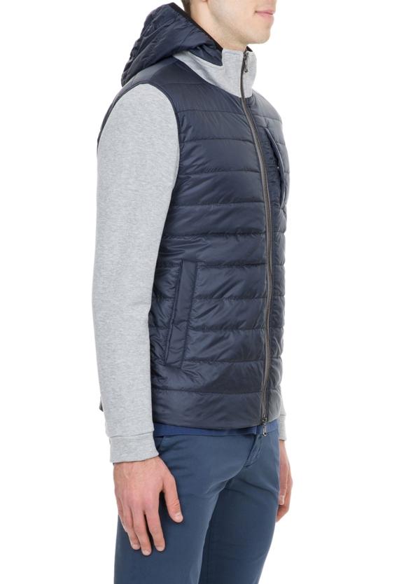 Chaqueta tejido técnico azul marino con mangas de felpa color gris - Ítem1