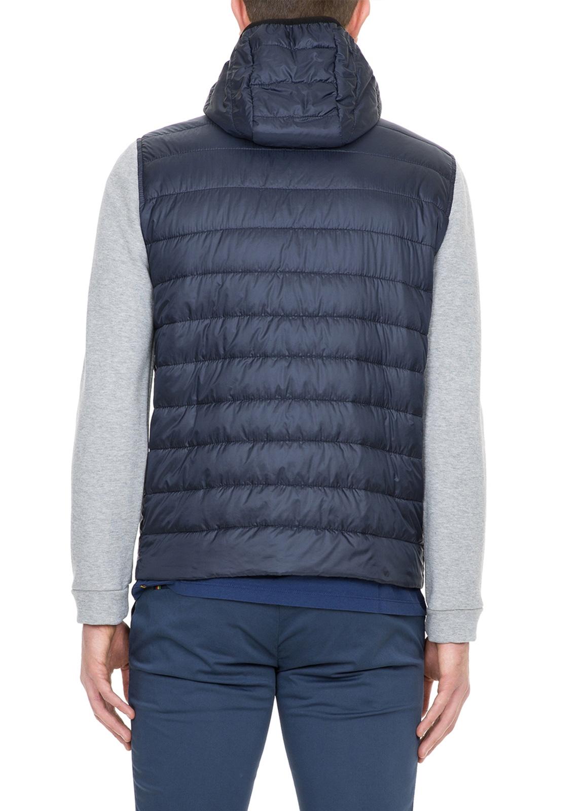 Chaqueta tejido técnico azul marino con mangas de felpa color gris - Ítem2