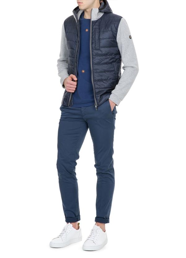Chaqueta tejido técnico azul marino con mangas de felpa color gris - Ítem3