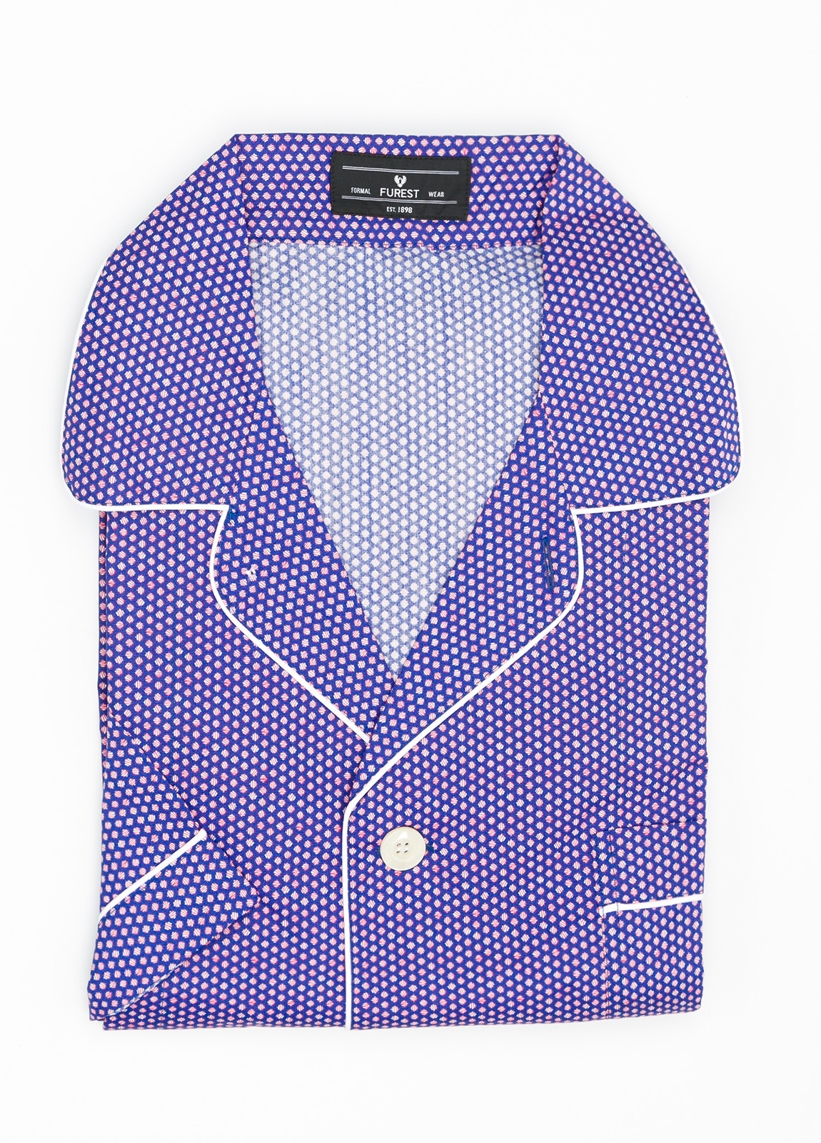 Pijama CORTO dos piezas, pantalón corto con cinta no elástica y funda incluida color azul con estampado geométrico. 100% Algodón.