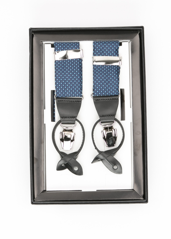 Tirantes color azul con con detalles en piel y acero.