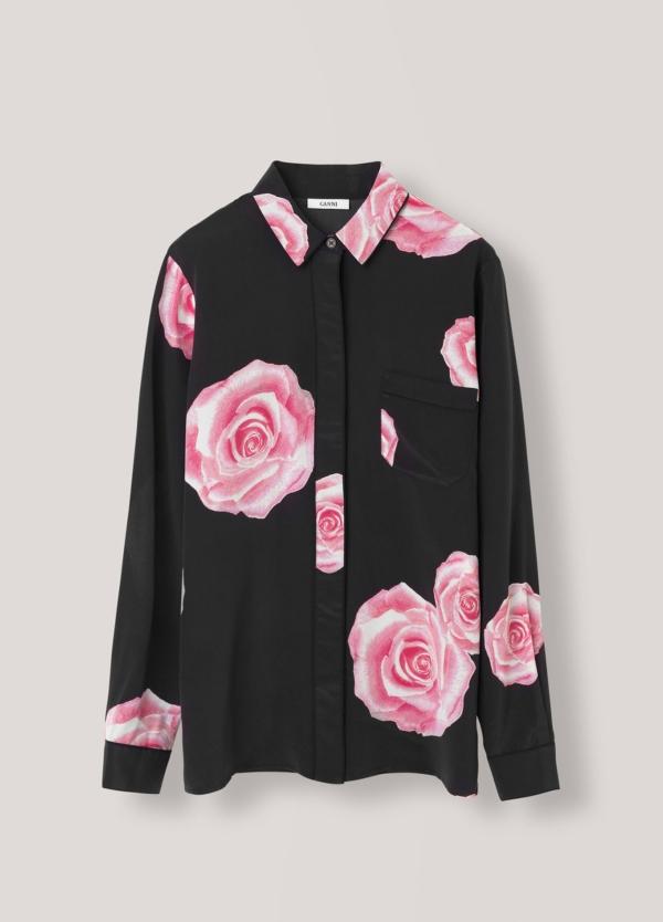 Camisa color negro con estampado floral,100% Seda. - Ítem3