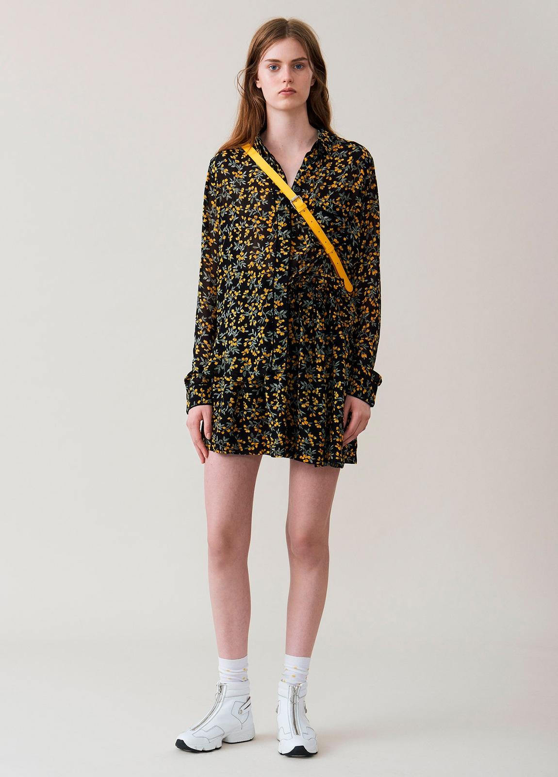 Camisa transparente color negro con estampado floral,100% Viscosa. - Ítem1