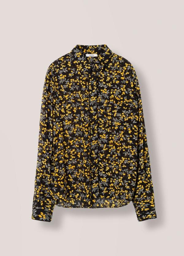 Camisa transparente color negro con estampado floral,100% Viscosa. - Ítem2