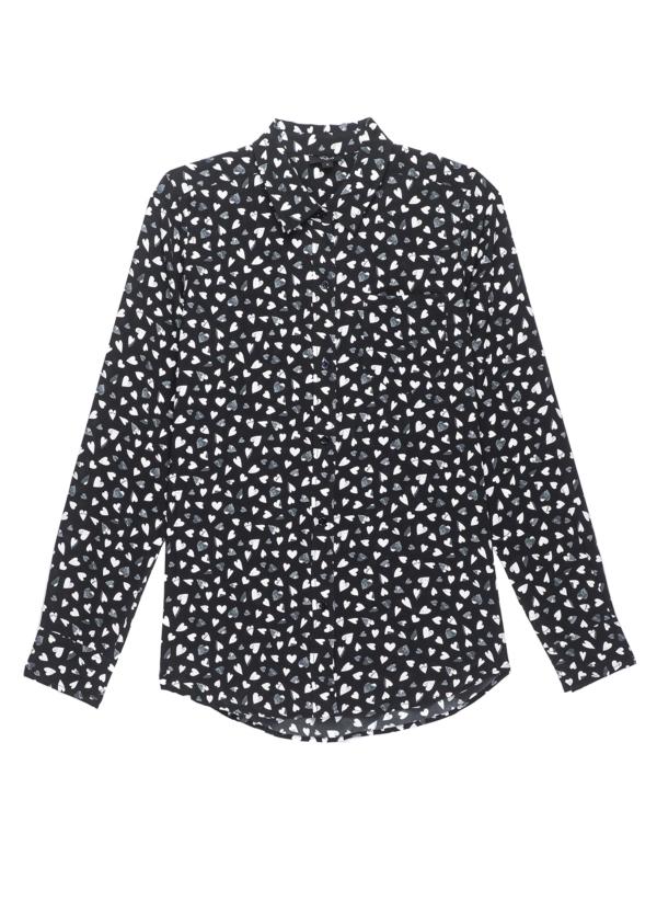Camisa woman manga larga, color negro estampado corazones. 100% seda.