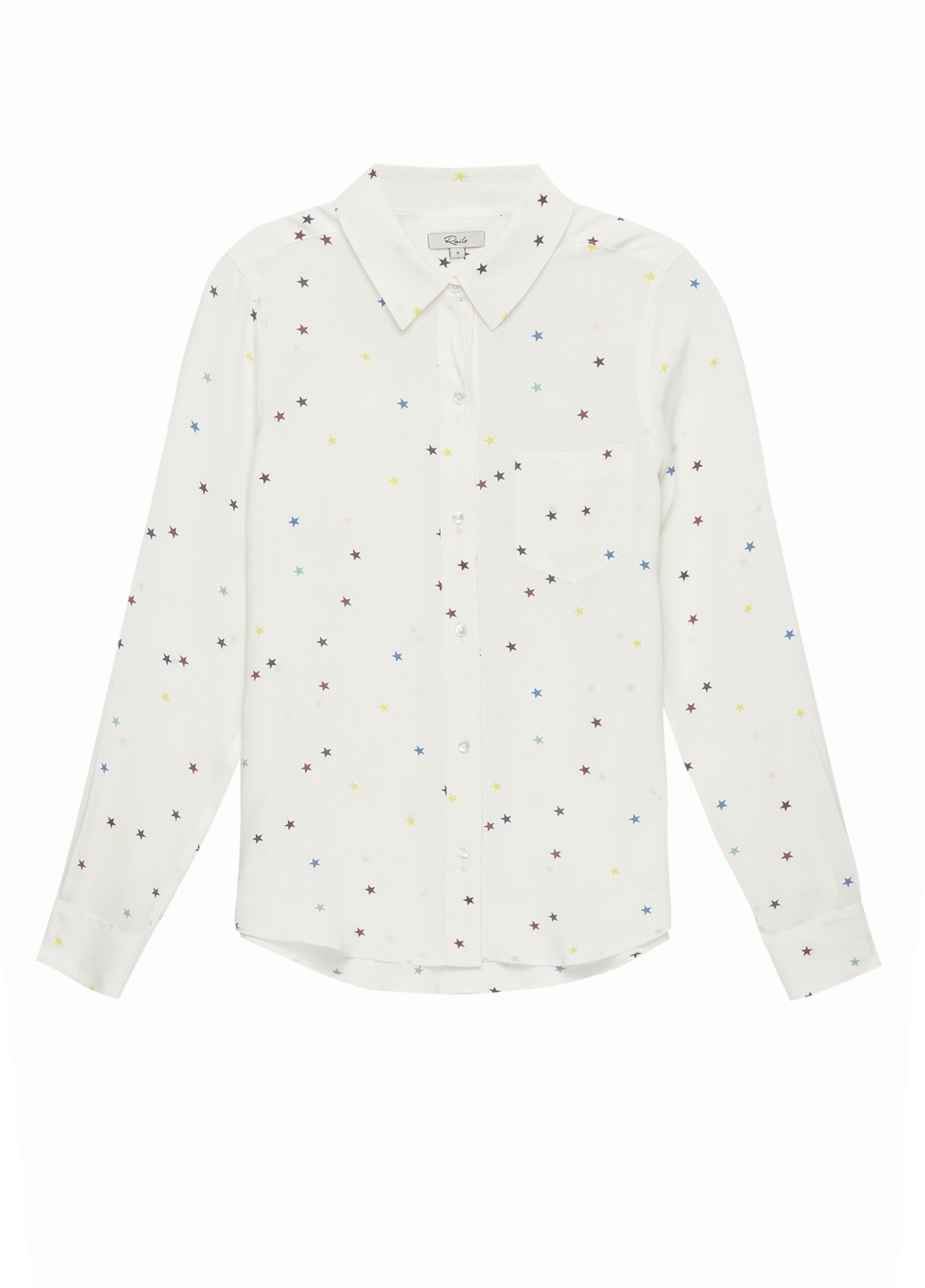 Camisa woman manga larga, color blanco estampado estrellas. 100% seda.