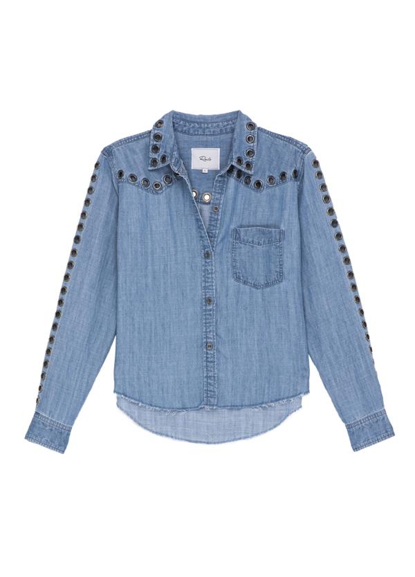 Camisa woman manga larga, color azul denim con detalle ojales de metal en mangas y cuello. 70% tencel 30% lino. - Ítem1