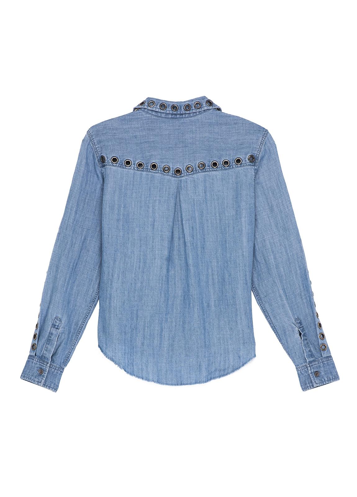 Camisa woman manga larga, color azul denim con detalle ojales de metal en mangas y cuello. 70% tencel 30% lino. - Ítem2