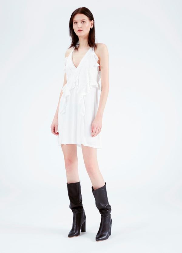 vestido de tirantes y cuello pico con bordes de encaje y detalle de volantes, color blanco. 53% Viscosa 47% Rayón.