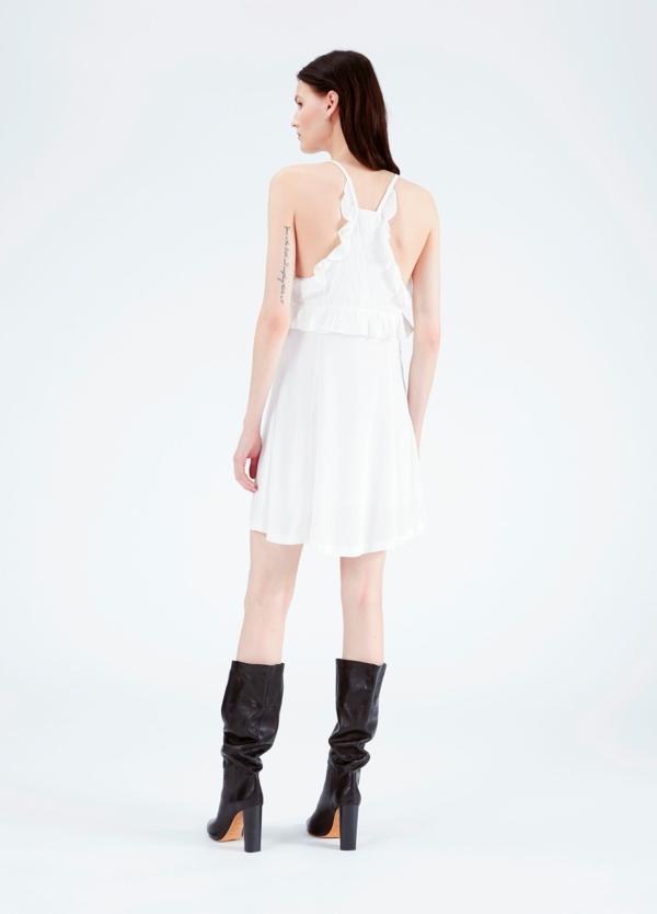 vestido de tirantes y cuello pico con bordes de encaje y detalle de volantes, color blanco. 53% Viscosa 47% Rayón. - Ítem2