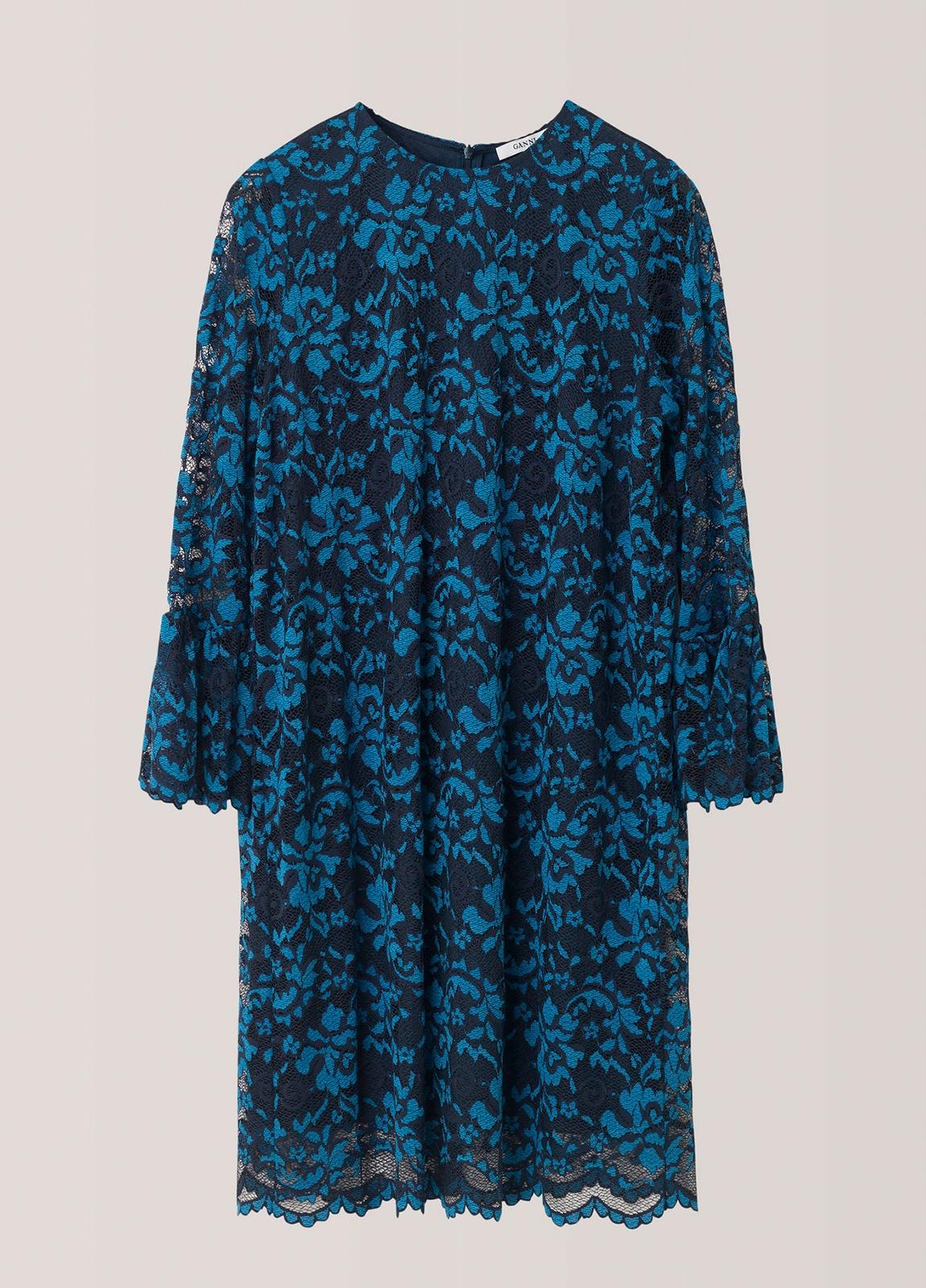 Vestido de encaje color azul con manga acampanada. 67% Poliamida 30% Viscosa 3% Elastáno. - Ítem1