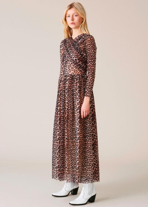 Vestido largo drapeado con estampado animal print. 100% poliamida.