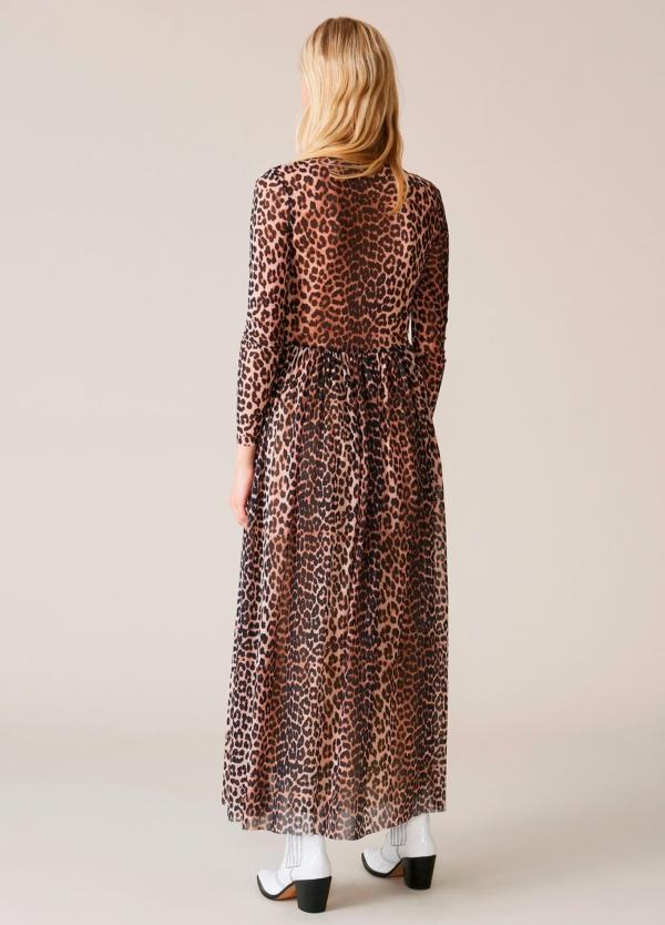 Vestido largo drapeado con estampado animal print. 100% poliamida. - Ítem2