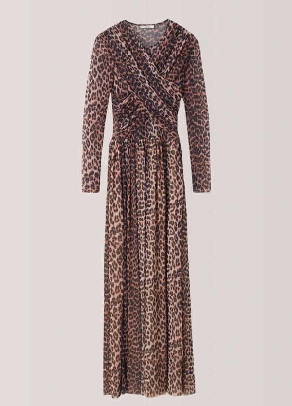Vestido largo drapeado con estampado animal print. 100% poliamida. - Ítem3