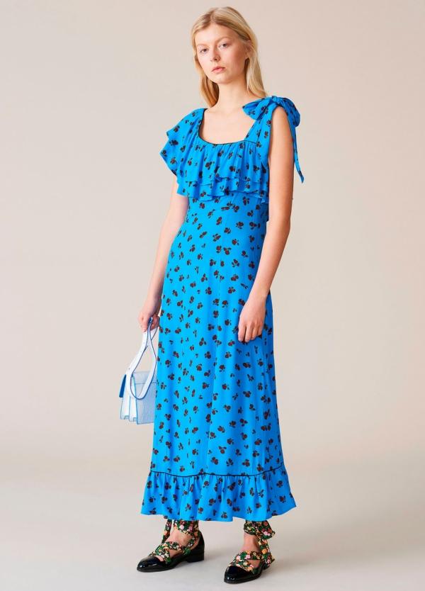 Vestido largo color azul con volantes y pliegues. 100% Viscosa. - Ítem2