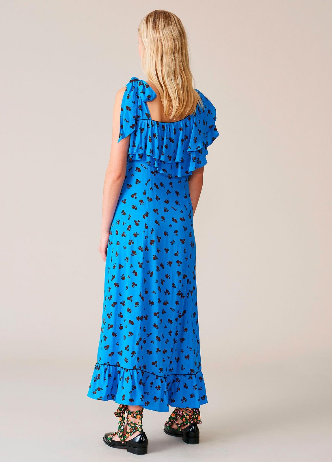 Vestido largo color azul con volantes y pliegues. 100% Viscosa. - Ítem1