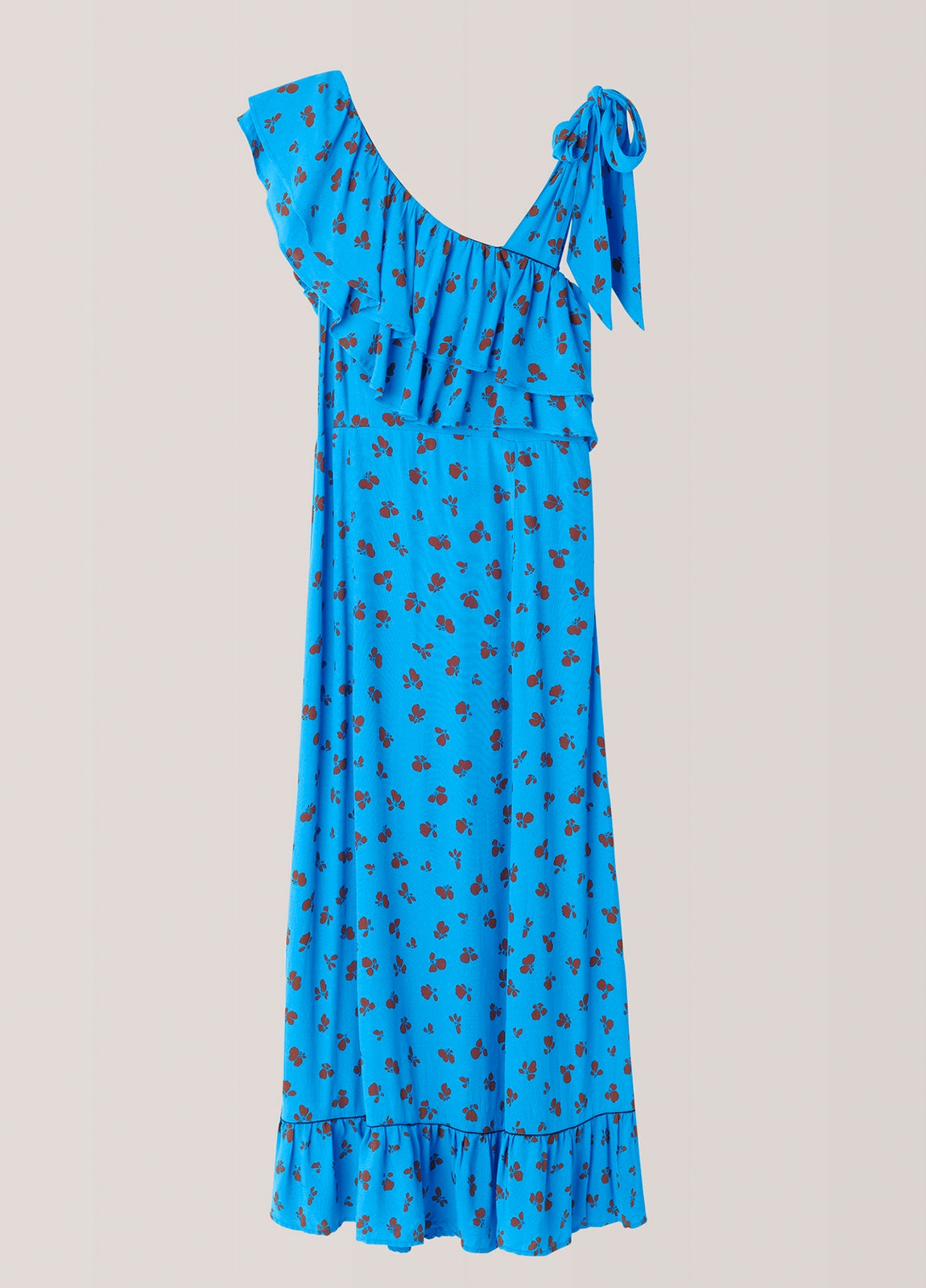 Vestido largo color azul con volantes y pliegues. 100% Viscosa. - Ítem3