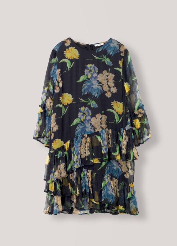 Vestido corto con volantes color negro con estampado floral. 100% Viscosa. - Ítem3