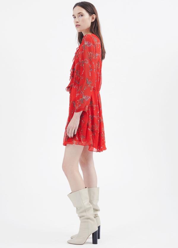 Vestido estampado floral color rojo con detalle de volantes. 100% Viscosa. - Ítem2