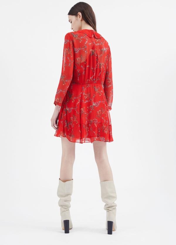 Vestido estampado floral color rojo con detalle de volantes. 100% Viscosa. - Ítem1