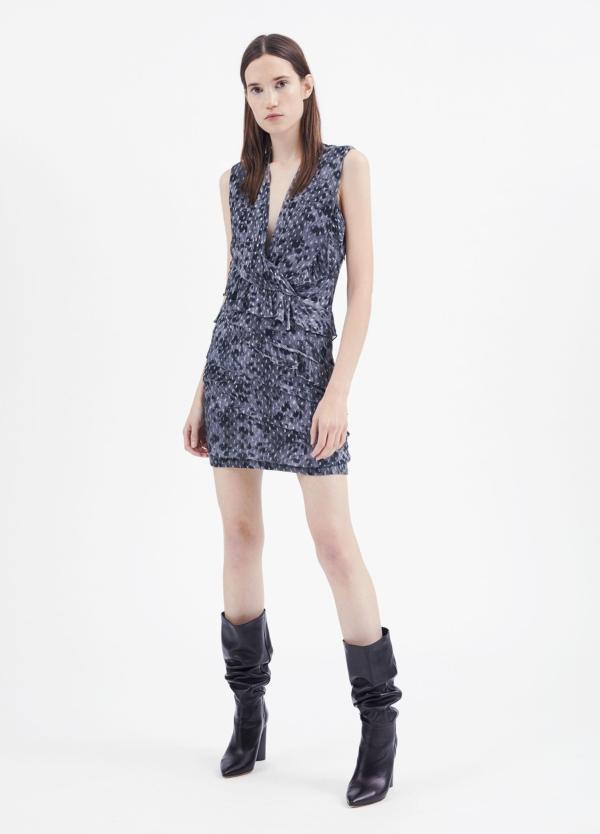 Vestido sin mangas y escote en pico color gris. 92% Visosa 8% Lúrex.