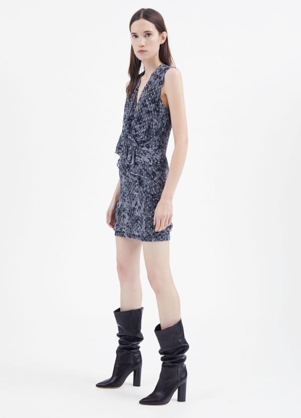 Vestido sin mangas y escote en pico color gris. 92% Visosa 8% Lúrex. - Ítem1